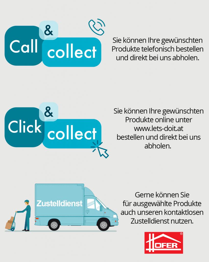 Call, Click and Collect und Zustelldienst
